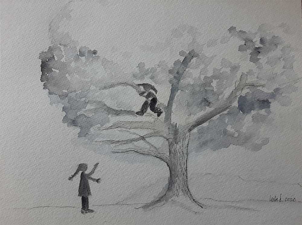 Climbing Trees - Art by Leela